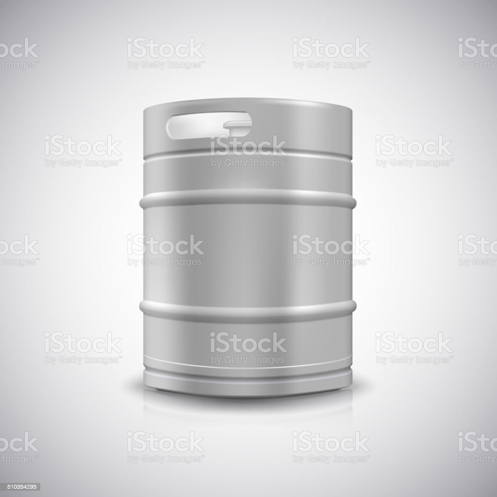 Metal beer keg vector art illustration