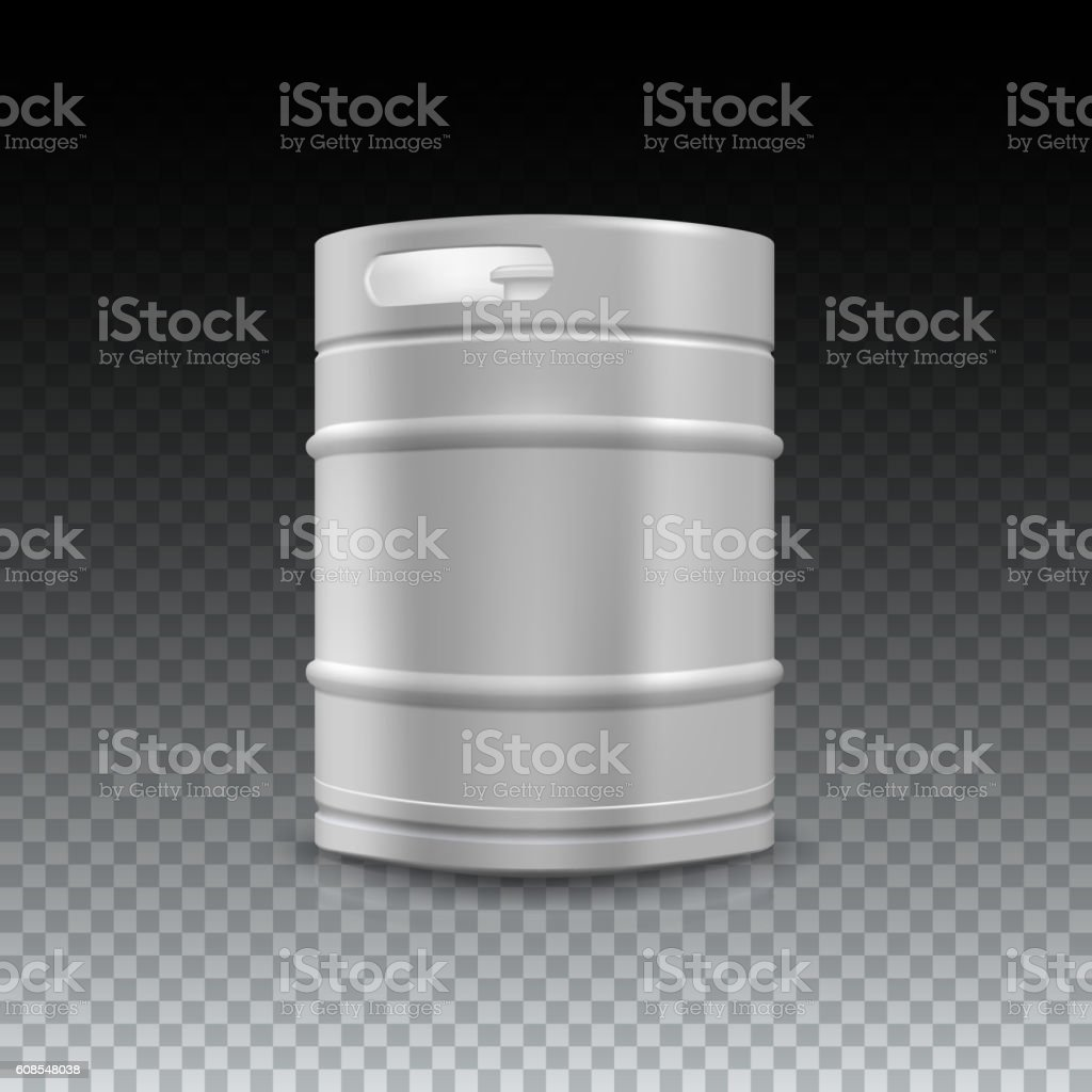 Metal beer keg with grained vector art illustration