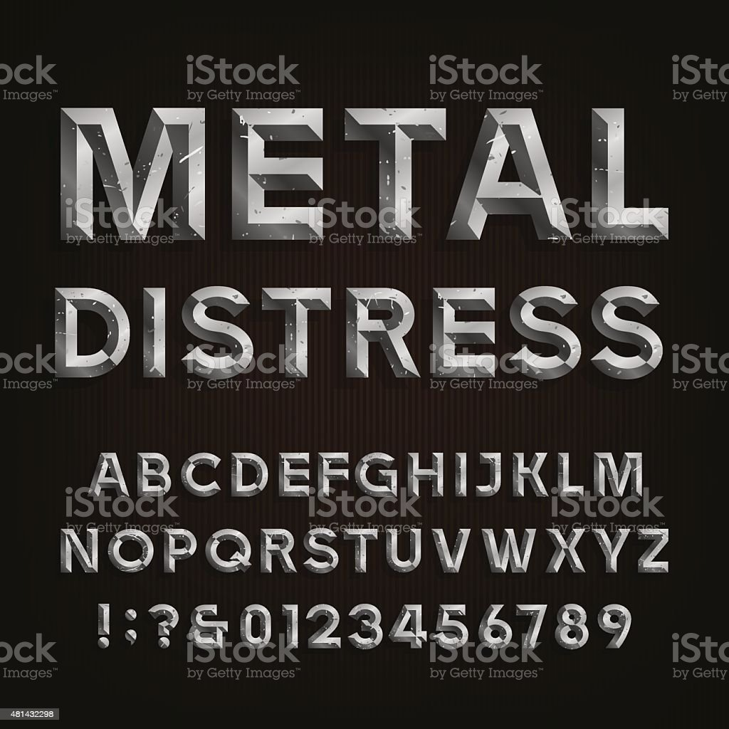 Metal Beveled Distressed Font. Vector Alphabet. vector art illustration
