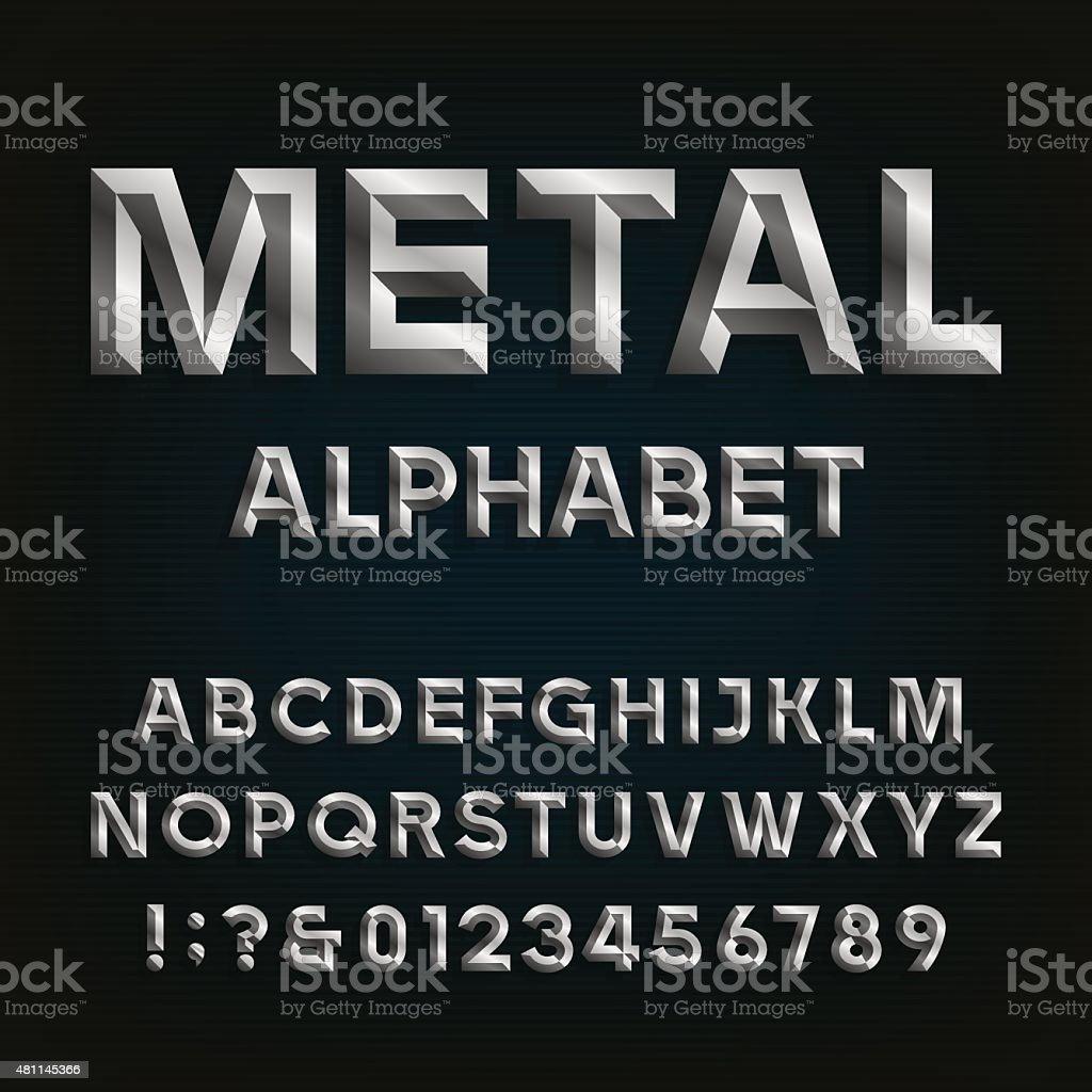 Metal Beveled Font. Vector Alphabet. vector art illustration
