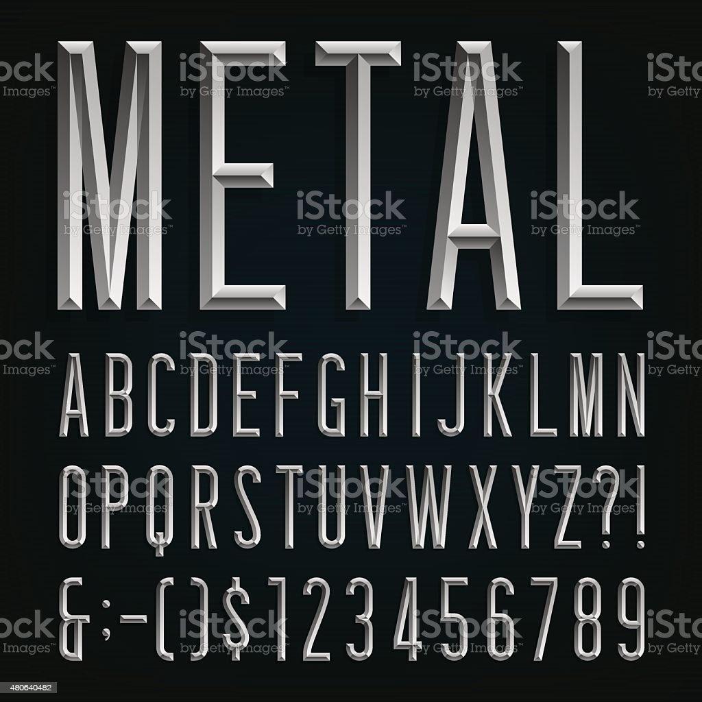 Metal Beveled Narrow Font. Vector Alphabet. vector art illustration