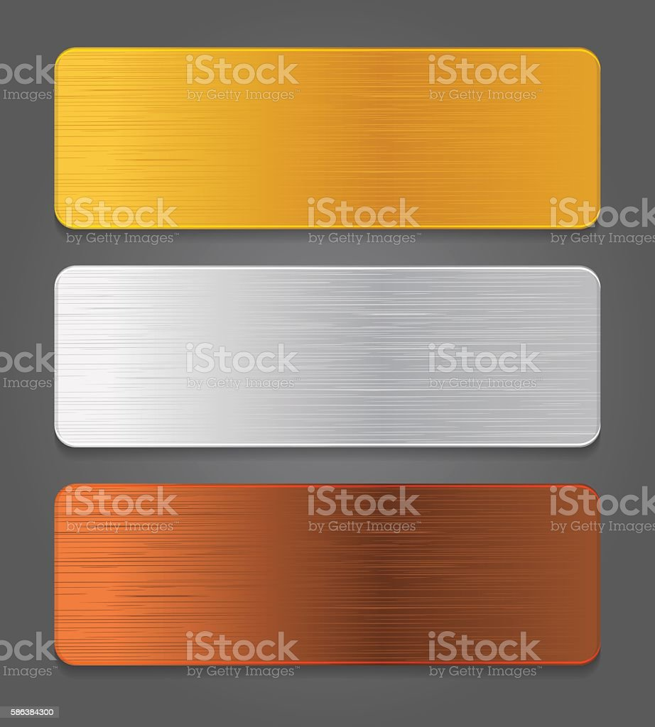 Metal button icons. Gold, silver, bronze app button. vector art illustration