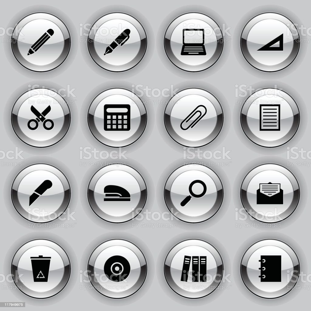 metal button icons - office supplies royalty-free stock vector art
