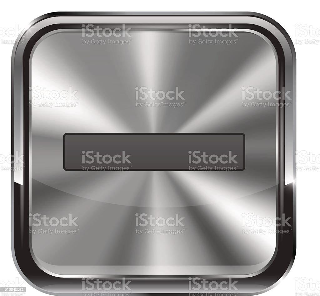Metal button. With chrome frame. Zoom out icon vector art illustration