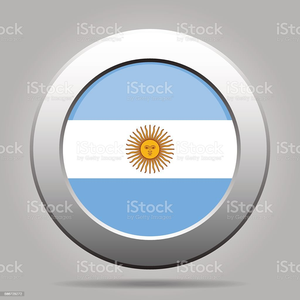 metal button with flag of Argentina vector art illustration