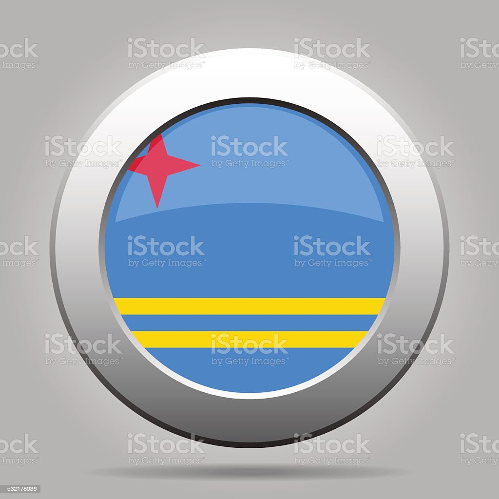 metal button with flag of Aruba vector art illustration