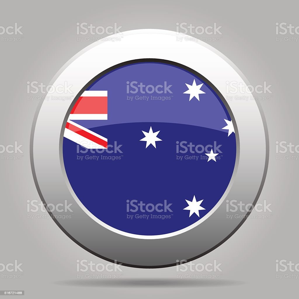 metal button with flag of Australia vector art illustration