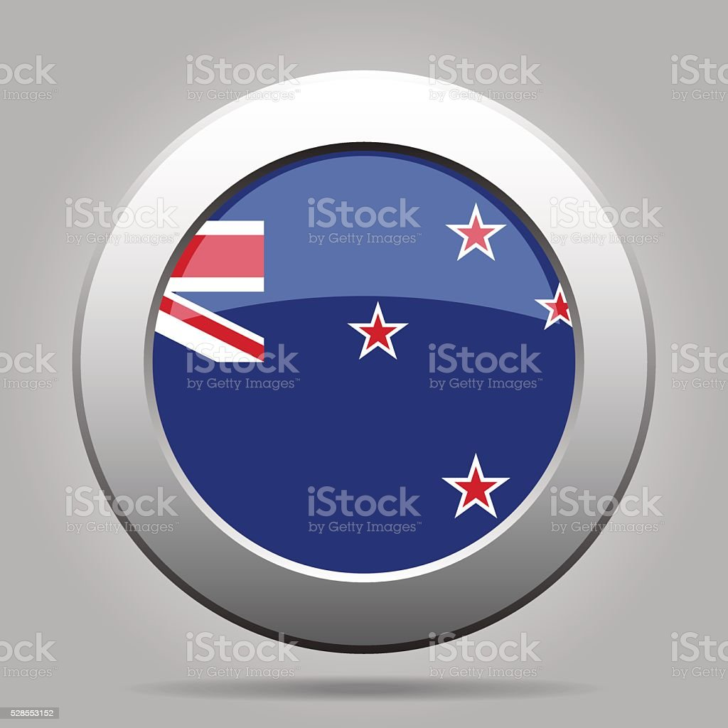 metal button with flag of New Zealand vector art illustration