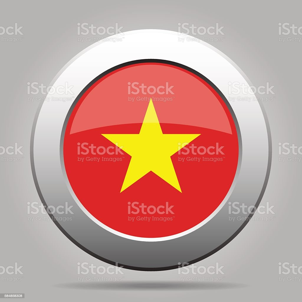 metal button with flag of Vietnam vector art illustration