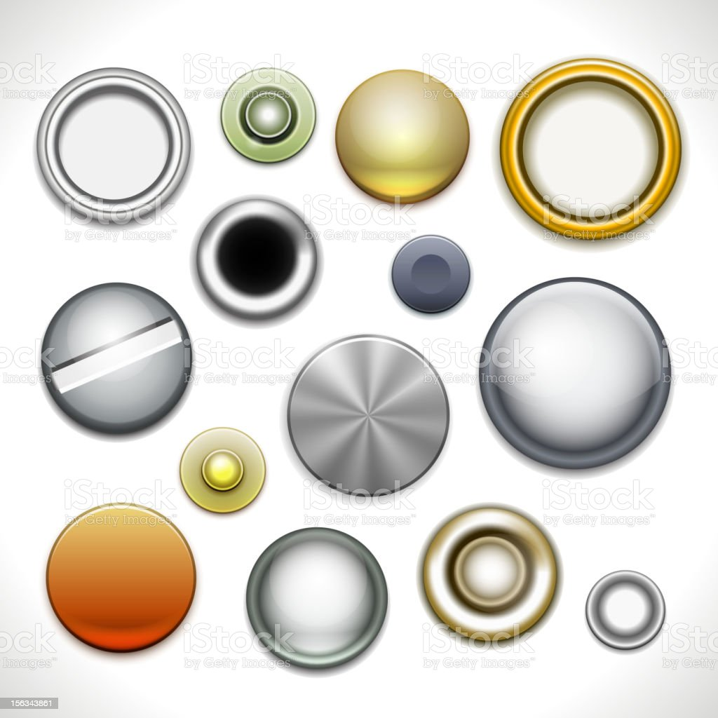 Metal buttons and rivets vector art illustration