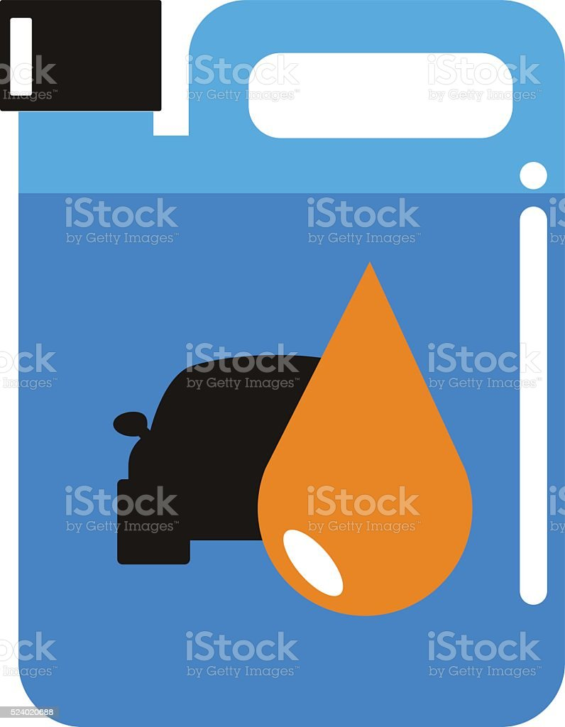 Metal canister of gasoline cartoon flat vector illustration vector art illustration