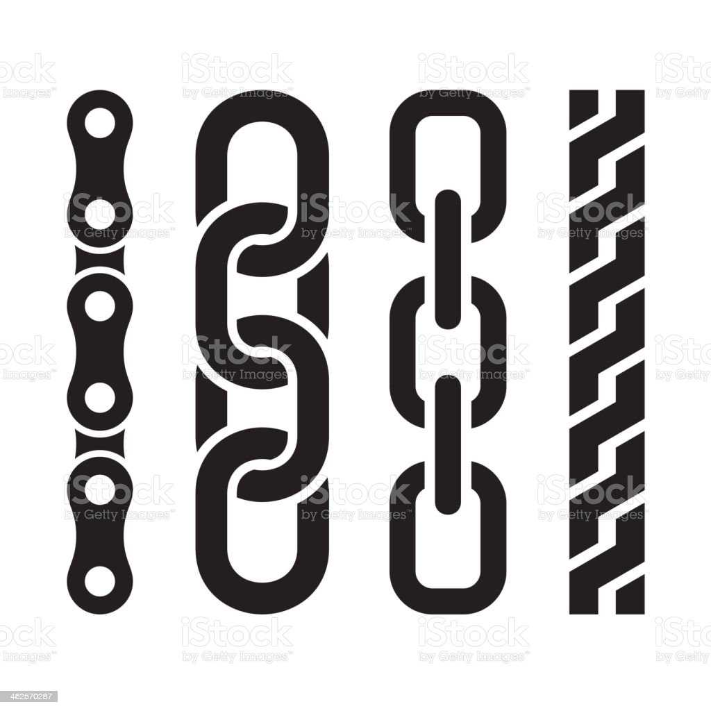Metal chain parts icons set on white background. vector art illustration