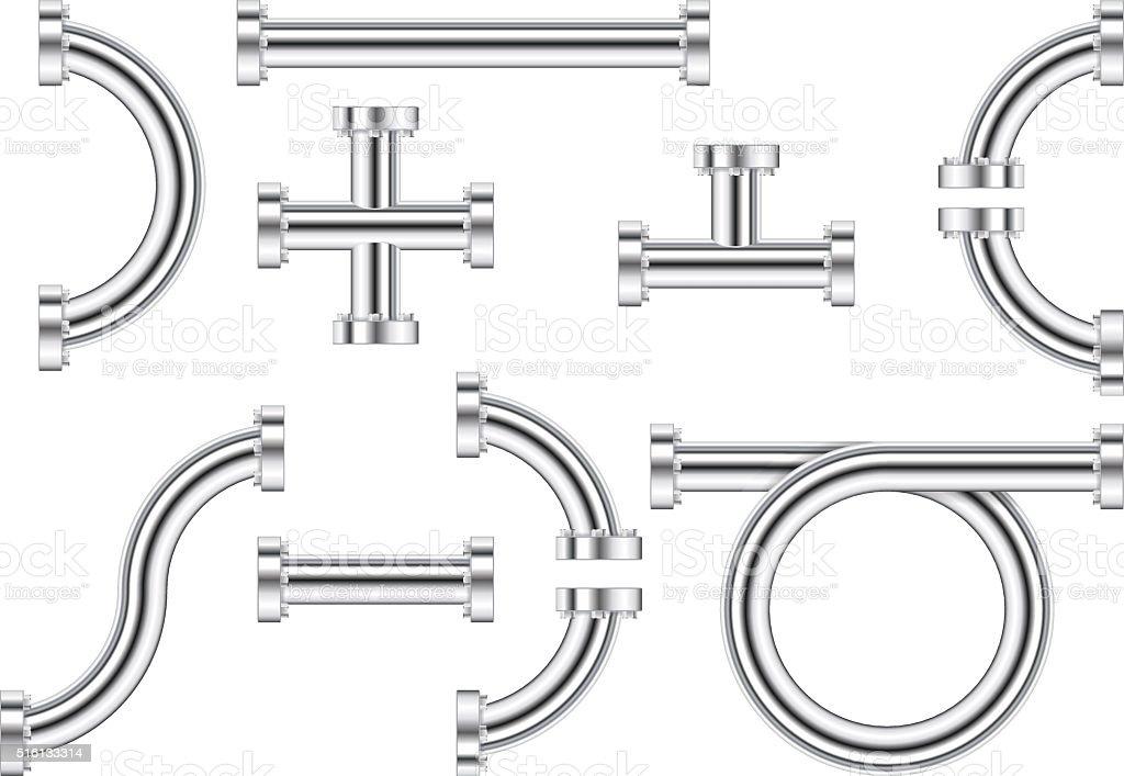 Metal chrome pipes vector art illustration