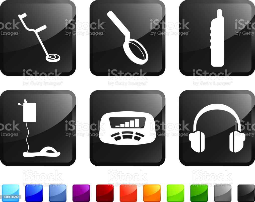 metal detection equipment royalty free vector icon set stickers vector art illustration