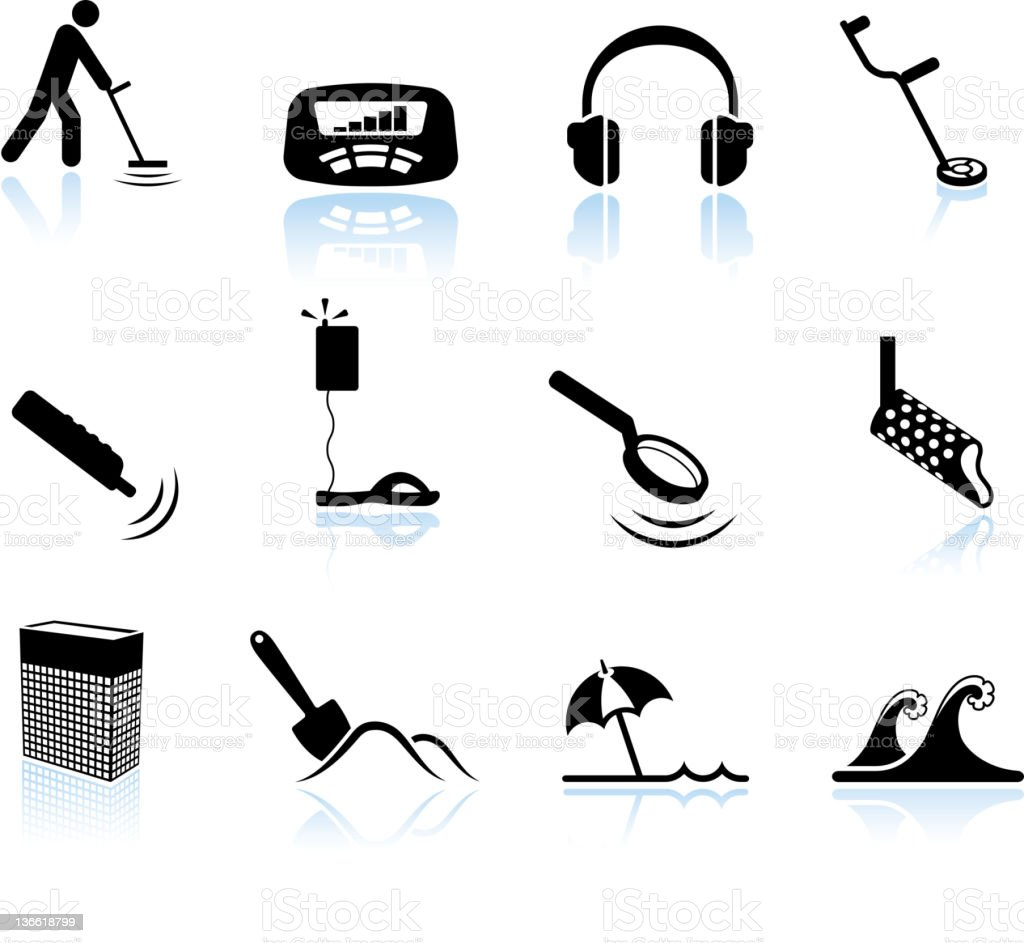 metal detection on beach black and white vector icon set vector art illustration