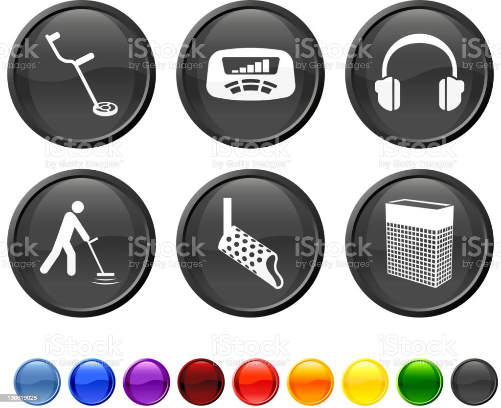 metal detection tools royalty free vector icon set vector art illustration