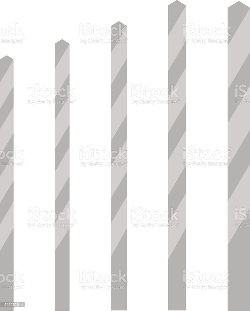 Metal drill bits of different sizes vector isolated over white vector art illustration