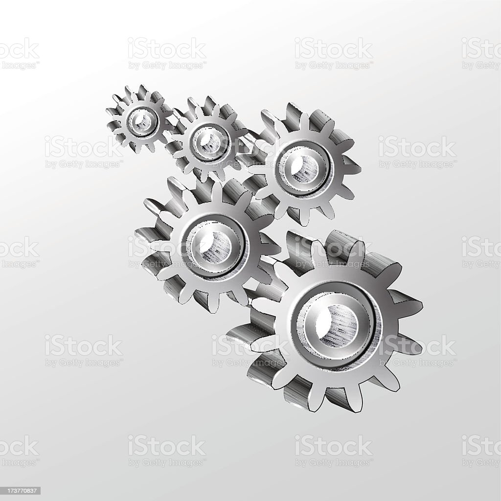 Metal  gear wheels  on a white background.Vector royalty-free stock vector art