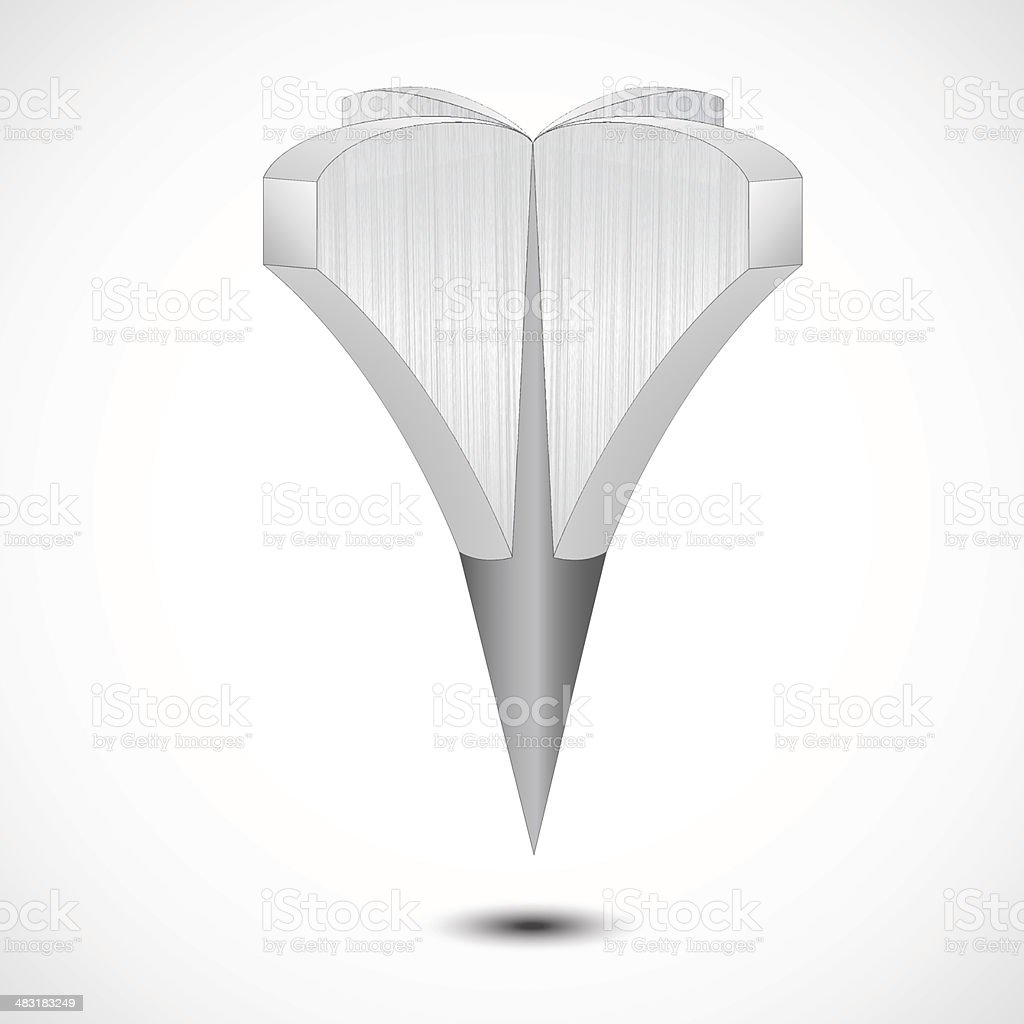 Metal Grey Map Pointer Icon. Vector vector art illustration
