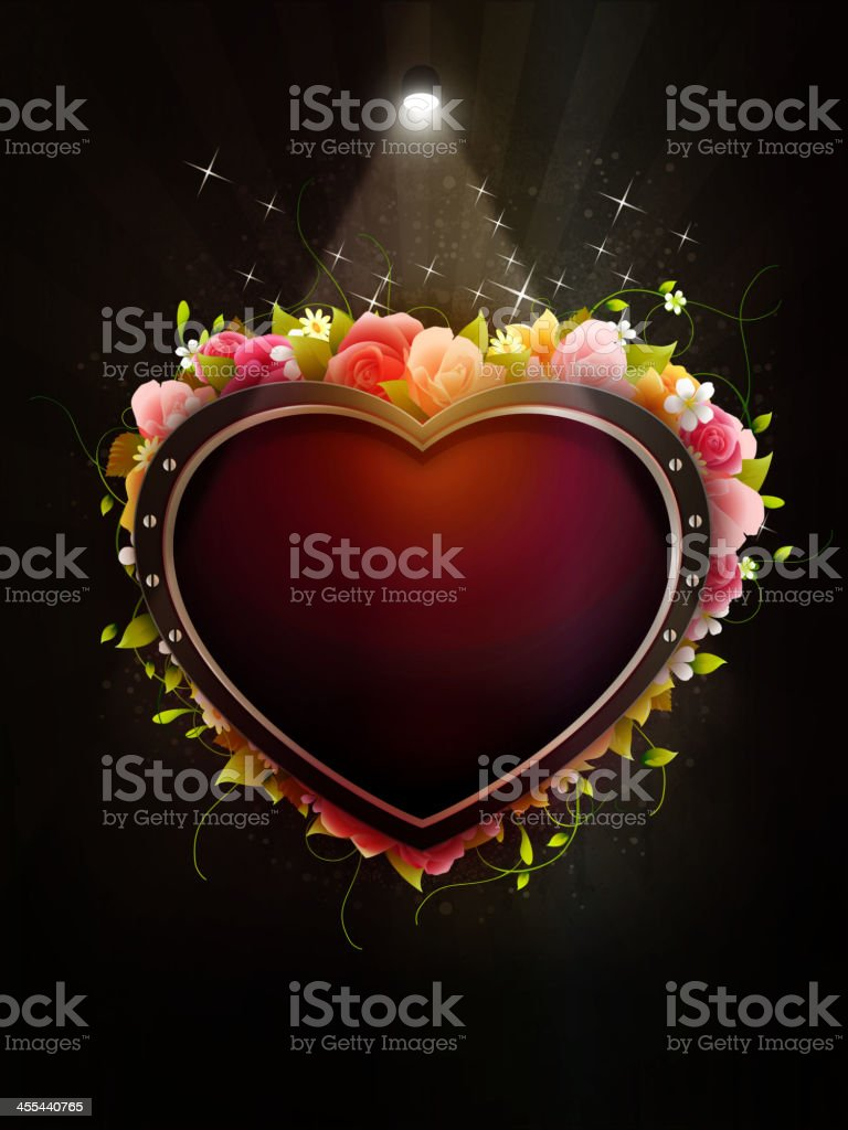 Metal Heart with Flowers on Grunge Background royalty-free stock vector art
