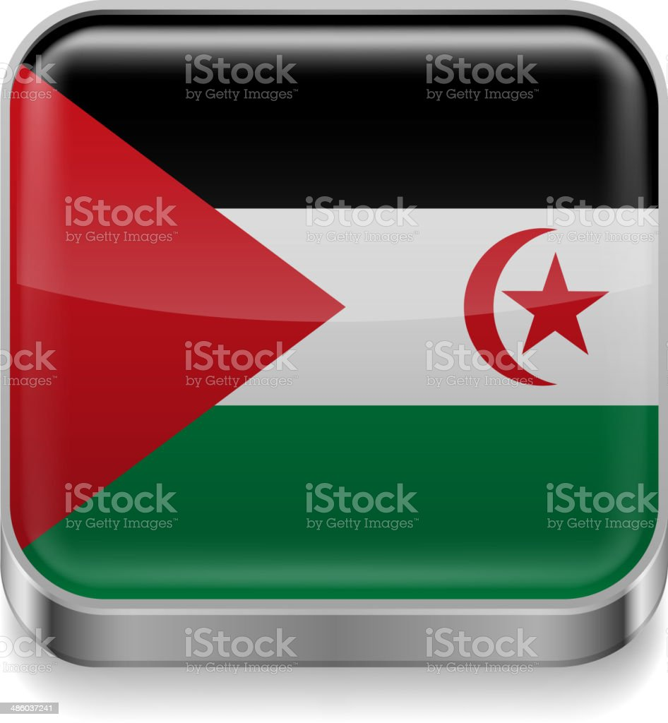 Metal  icon of Sahrawi Arab Democratic Republic vector art illustration