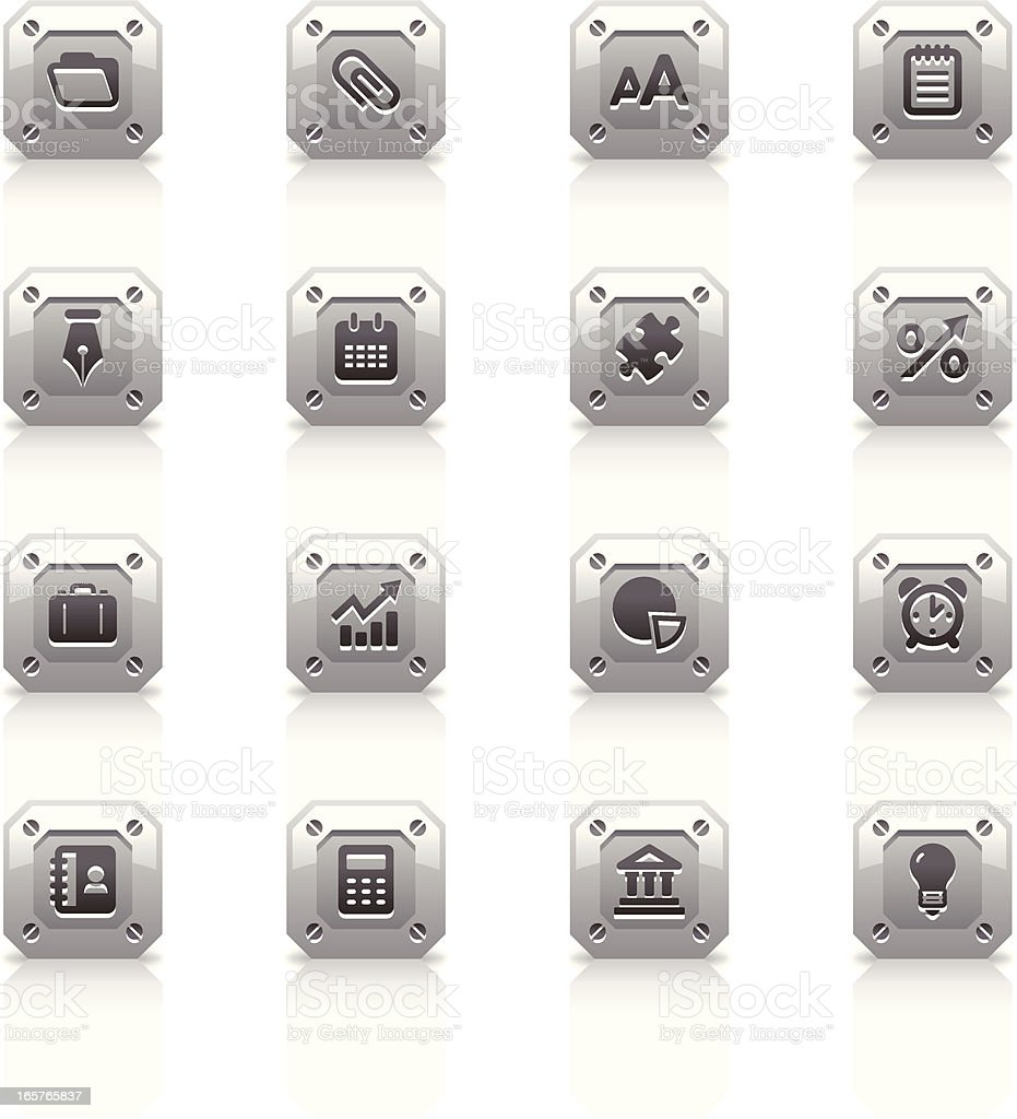 Metal Icons Set   Business royalty-free stock vector art