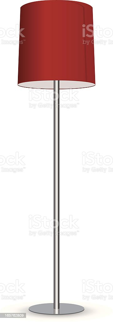 A metal lamp with a red lampshade on a white background royalty-free stock vector art