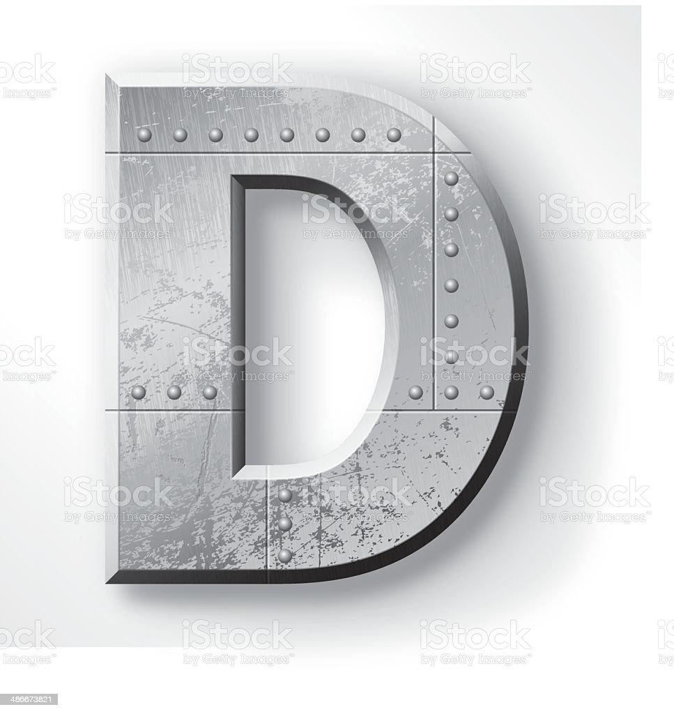 Metal Letter D vector art illustration