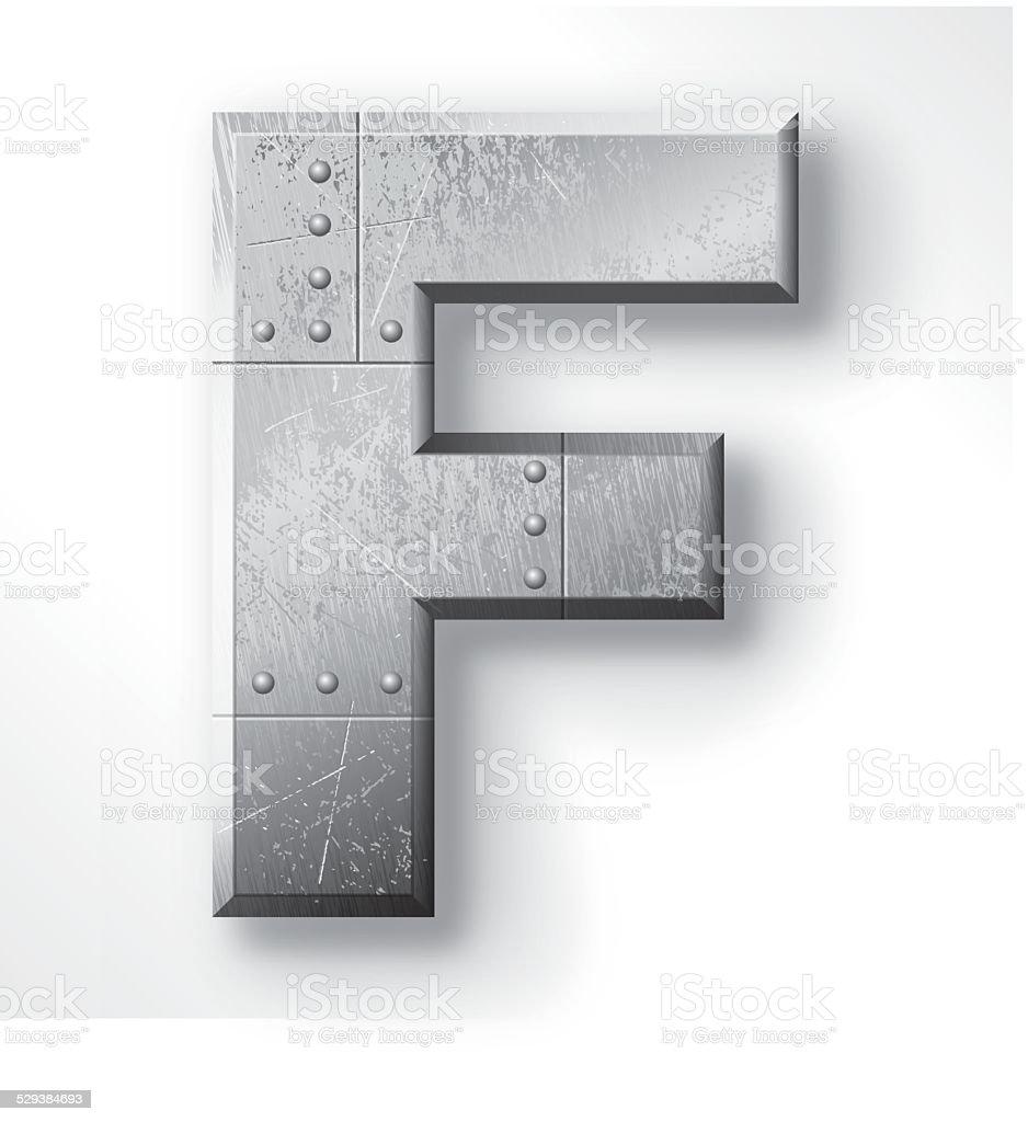 Metal Letter F vector art illustration