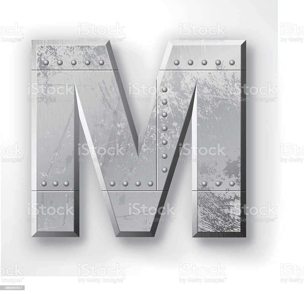 Metal Letter M vector art illustration