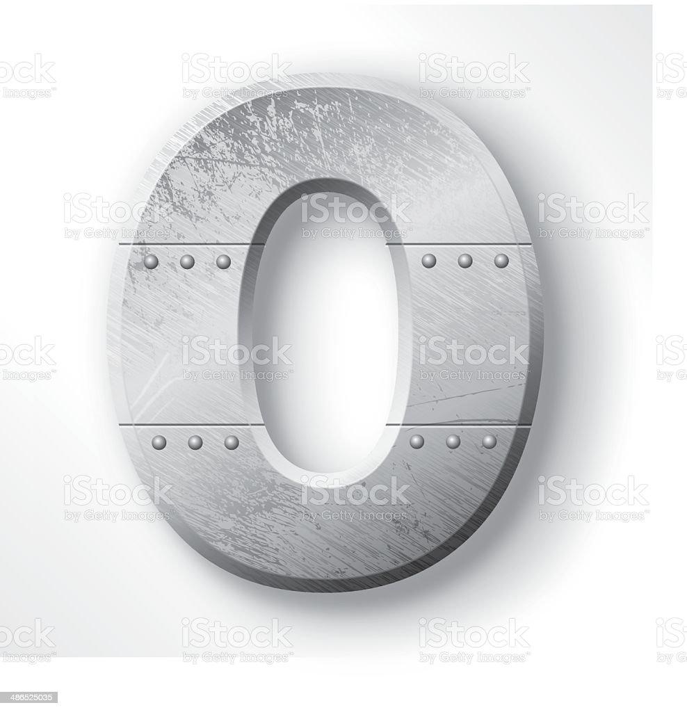 Metal Letter O vector art illustration