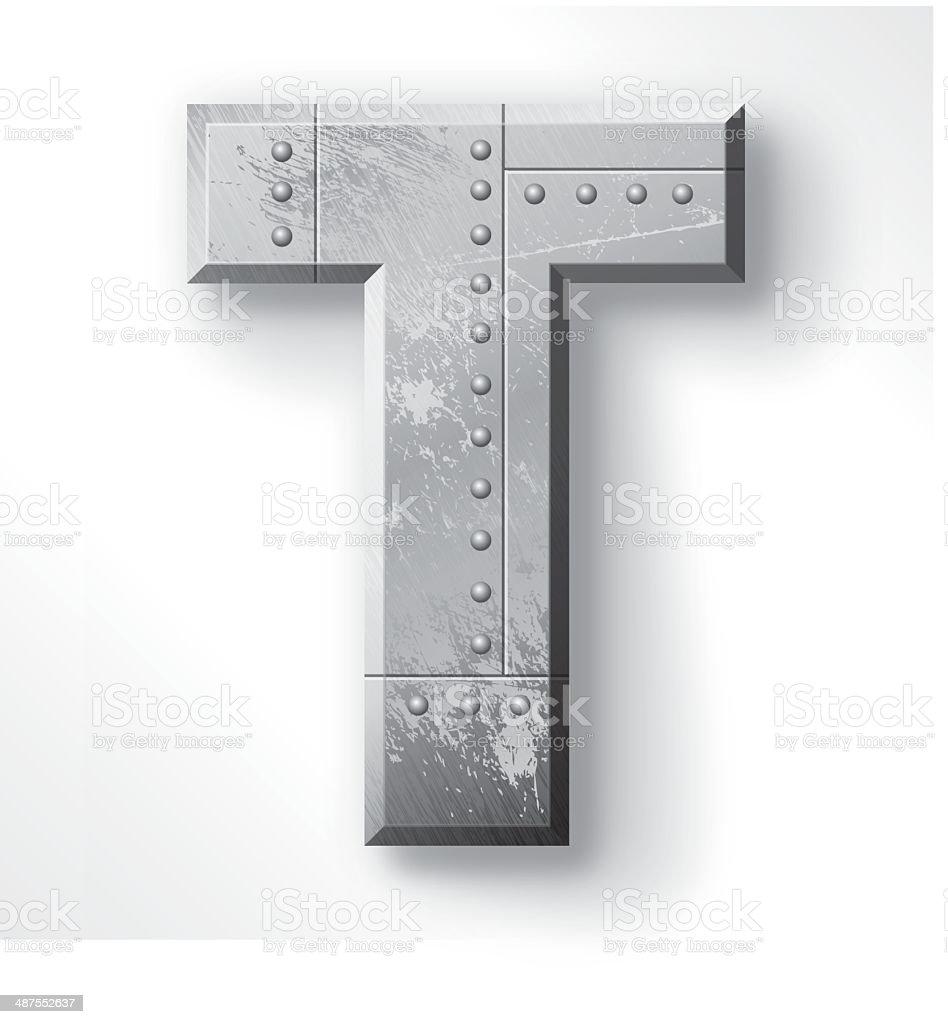 Metal Letter T vector art illustration
