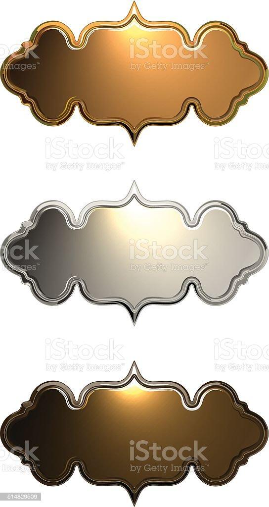 Metal Nameplates vector art illustration