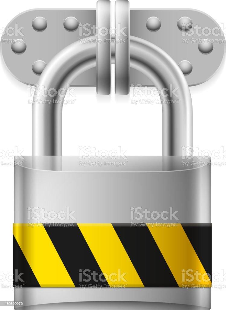 Metal padlock vector art illustration