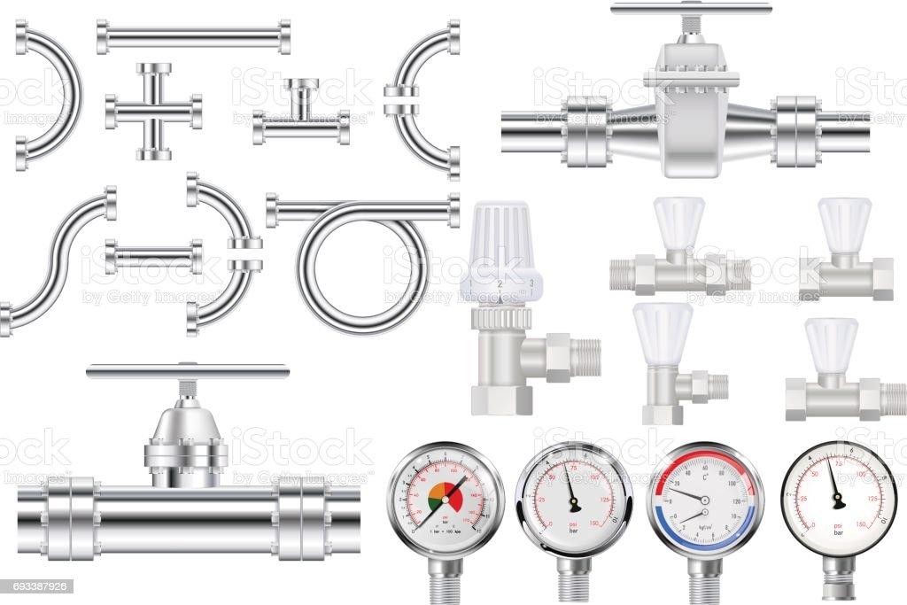 Metal pipes, chrome pipe flange,  Water valve. Manometer. vector art illustration