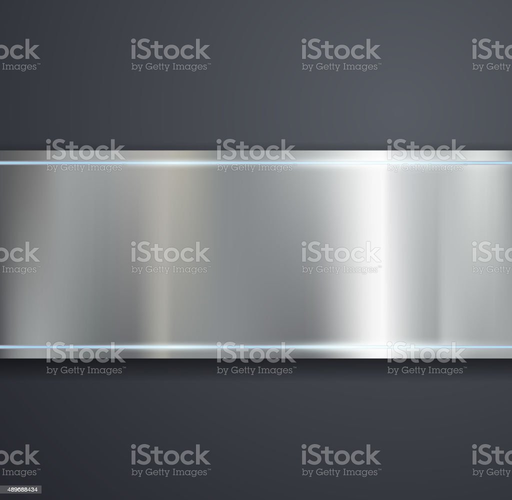 metal plate on a gray background. vector art illustration