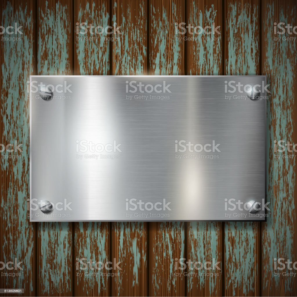 metal plate on a wooden wall vector art illustration