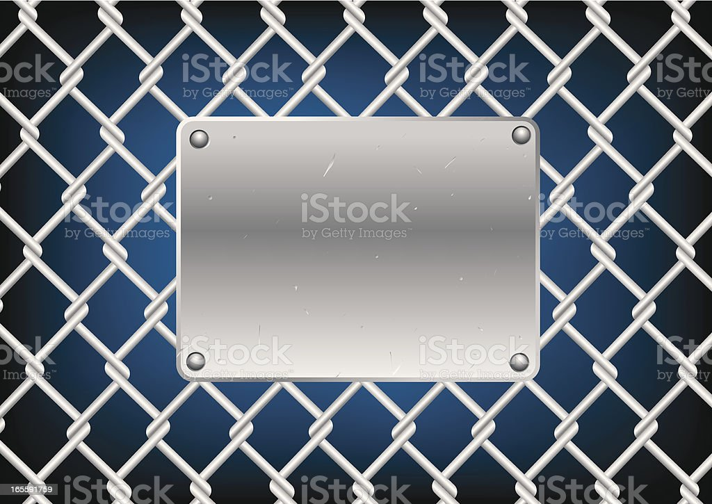 Metal plate on fence vector art illustration