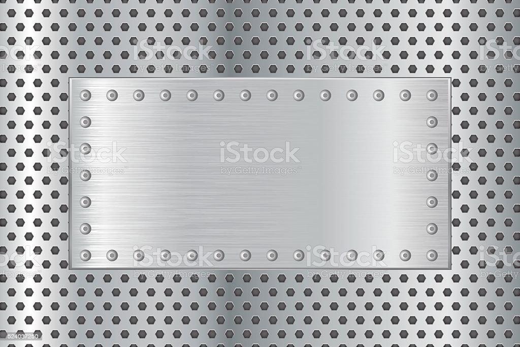Metal plate on steel background vector art illustration