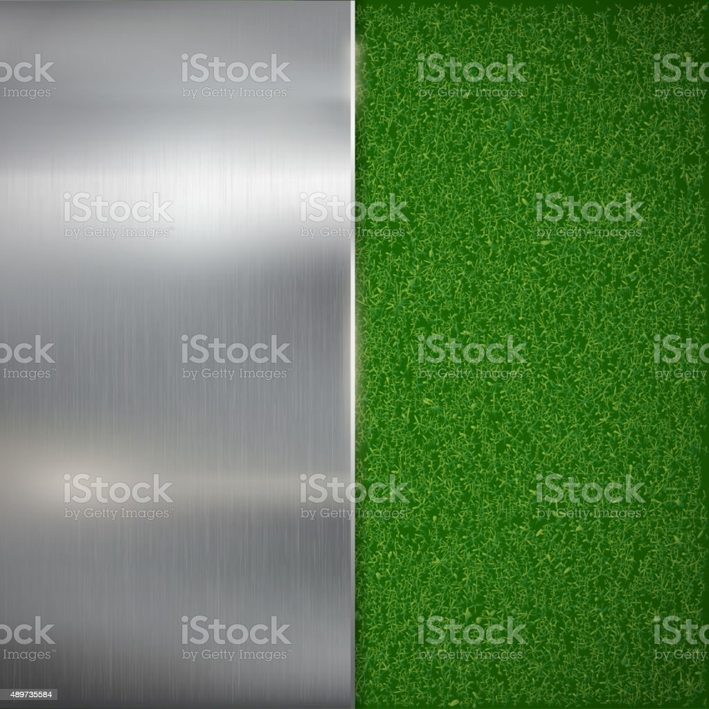 Metal plate on the lawn. vector art illustration