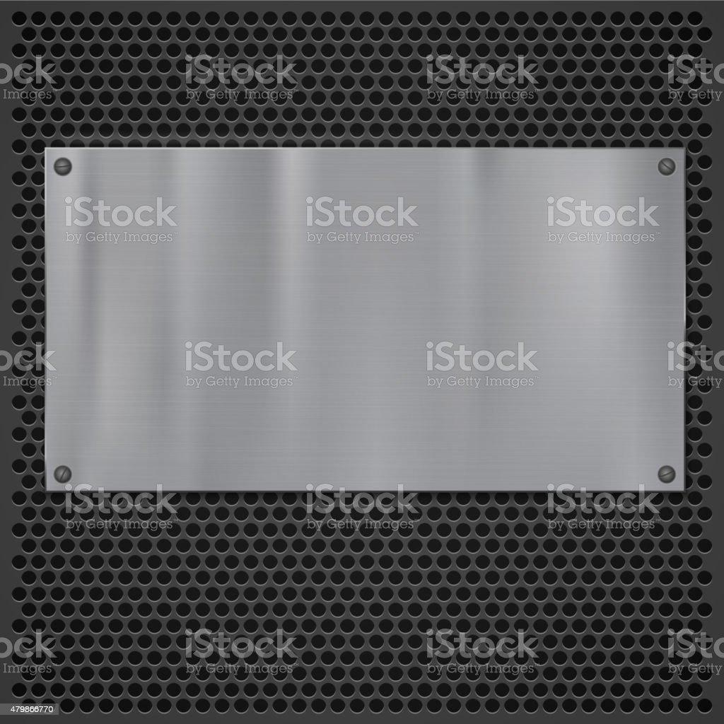 Metal plate over grate texture vector art illustration