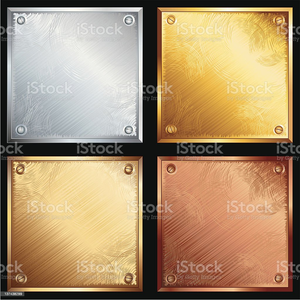 Metal plates in four different materials vector art illustration