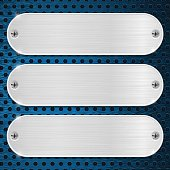 Metal plates on blue perforated background