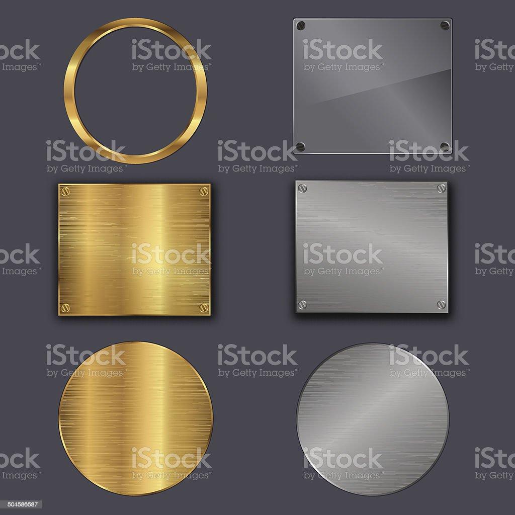 metal plates vector art illustration