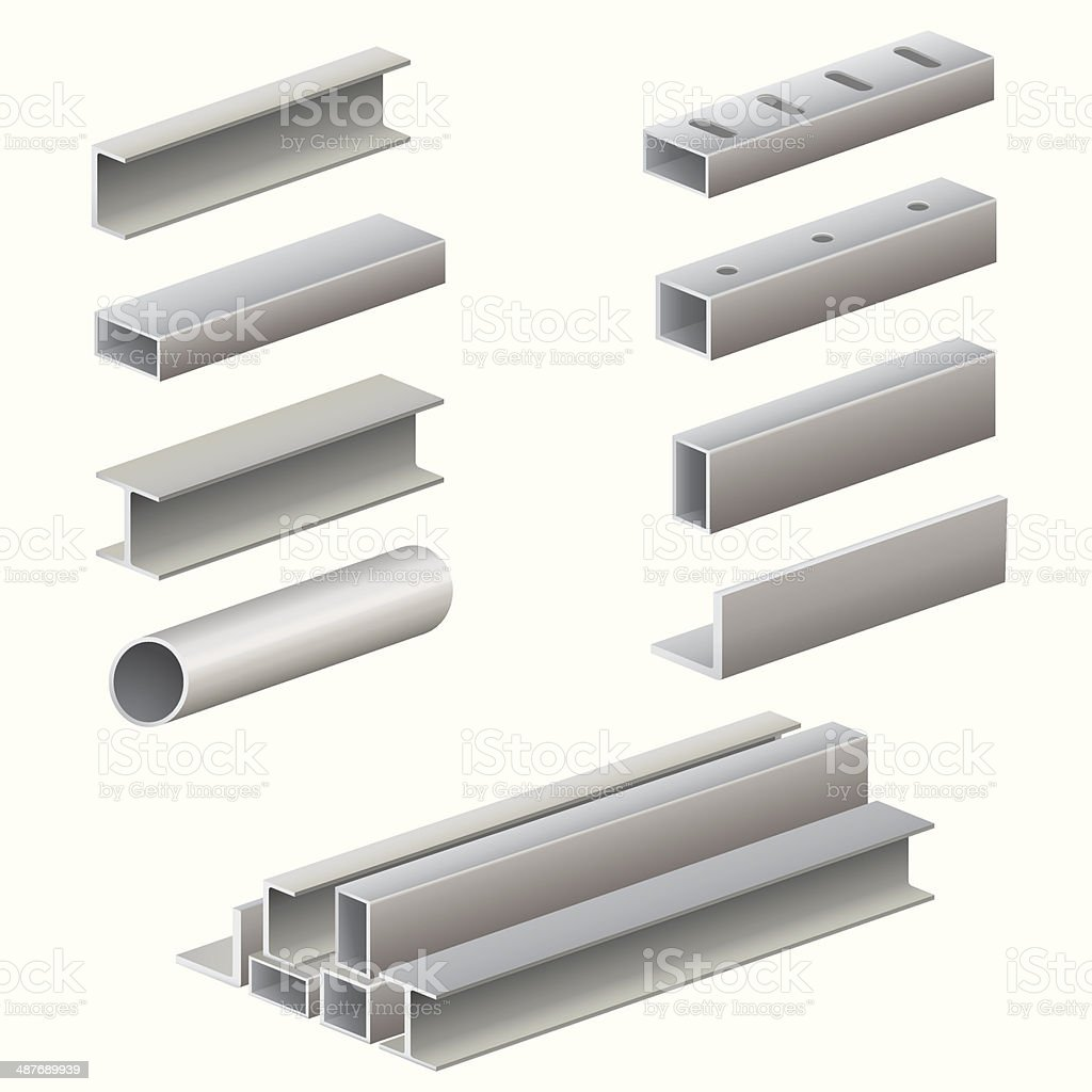 Metal profile and tubes vector art illustration