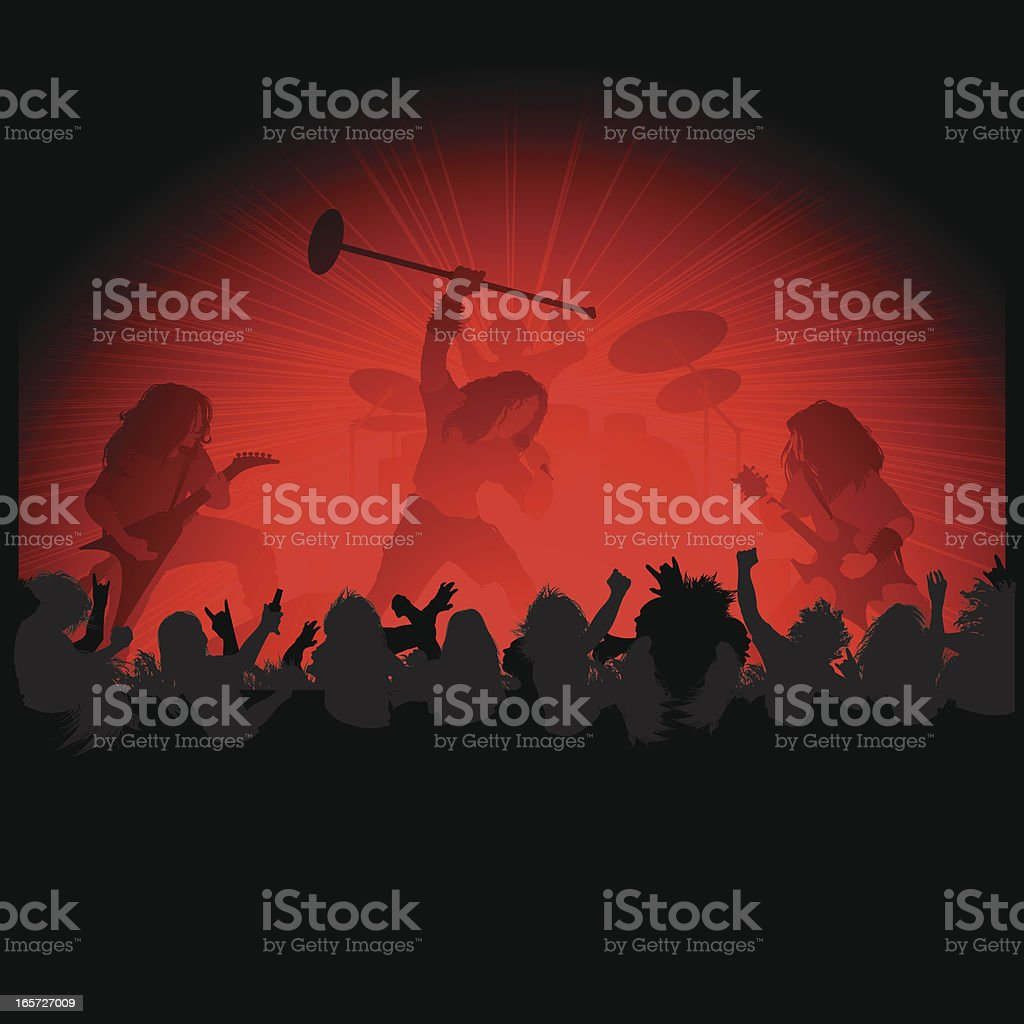 Metal Rock on Stage vector art illustration