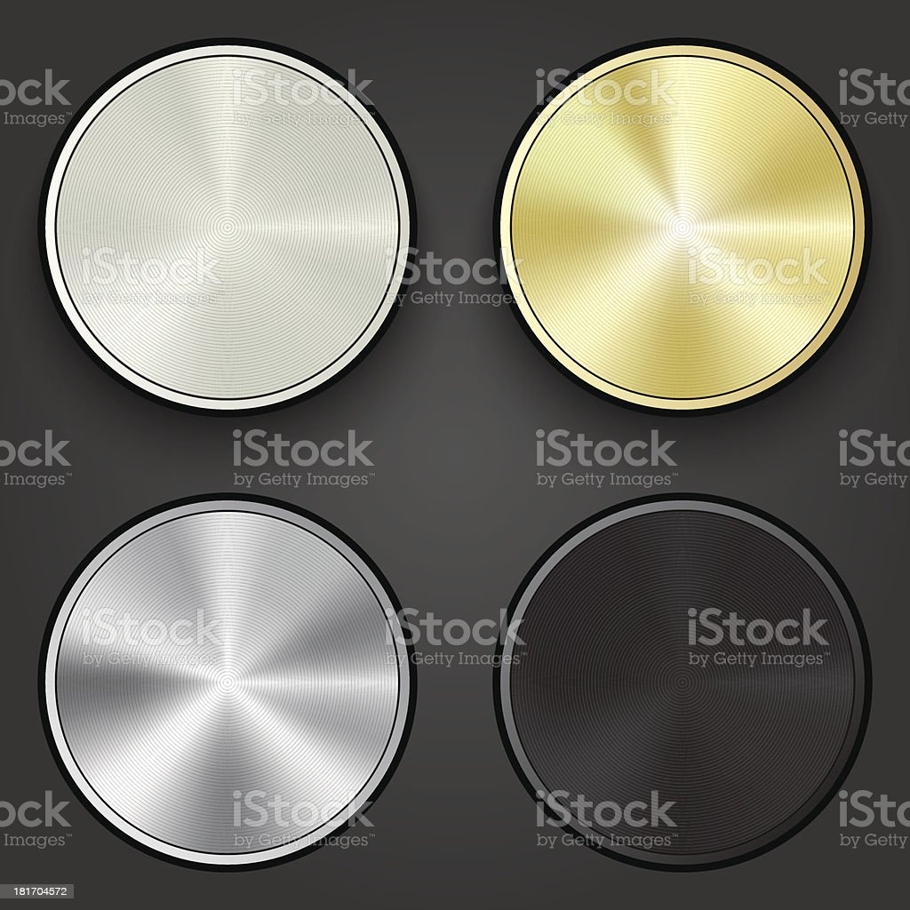 Metal round buttons, vector royalty-free stock vector art