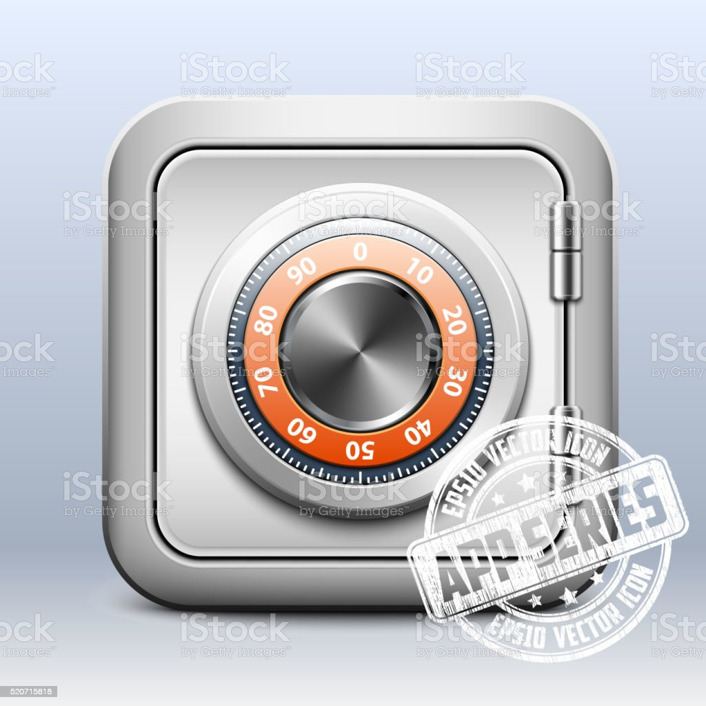 Metal safe icon with combination lock vector art illustration