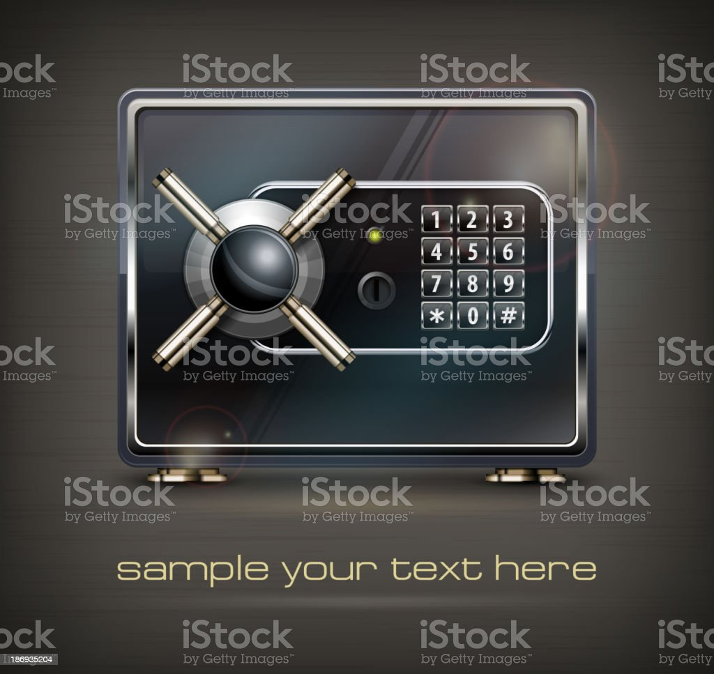Metal safe isolated on black royalty-free stock vector art