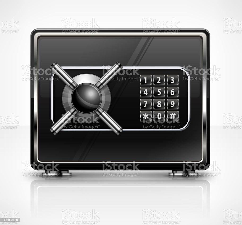 Metal safe isolated on white royalty-free stock vector art